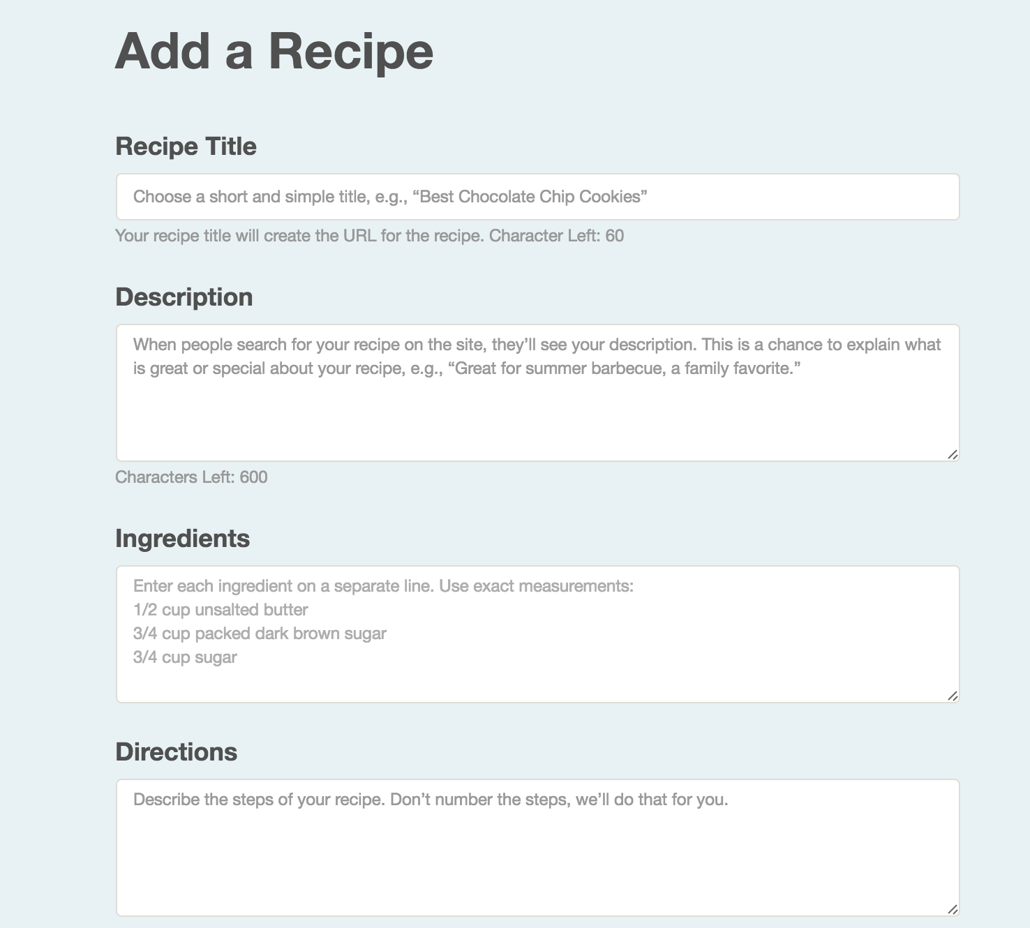 Add a recipe cookbook create