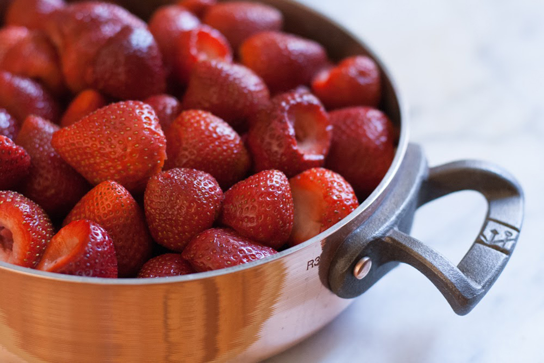 strawberries in copper pot mac kohler BC Cookware