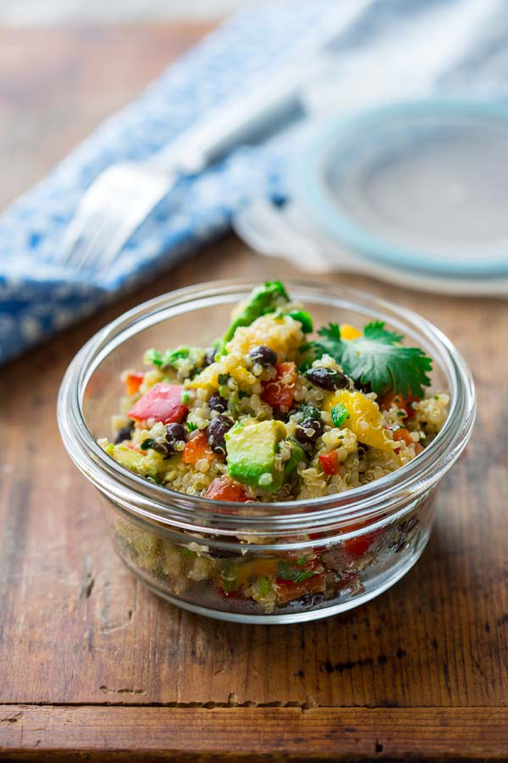 Great picnic ideas for vegetarians and flexitarians black bean quinoa avocado and mango salad by katie at healthy seasonal recipes picnic forumfinder Gallery