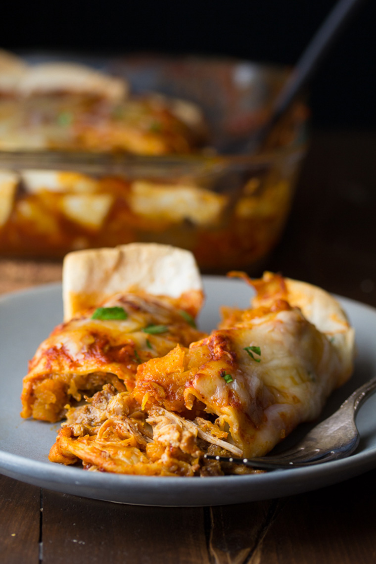 maple pork and butternut squash enchiladas