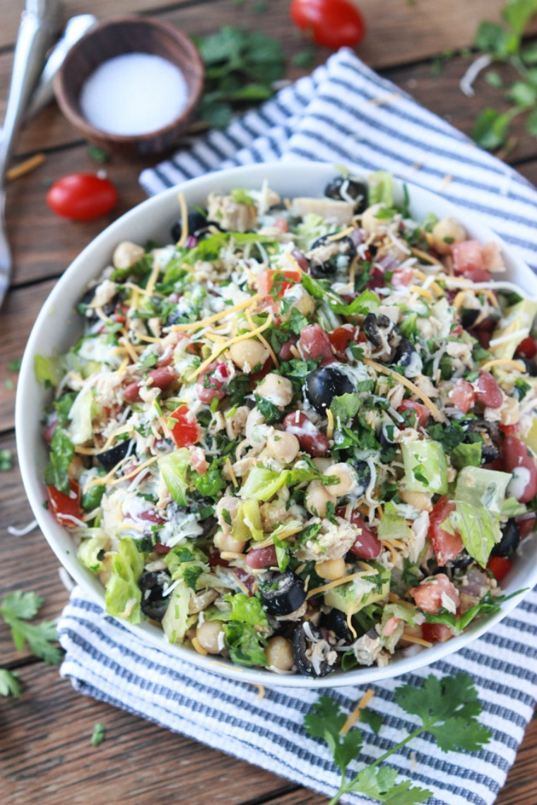 mexican chopped tuna salad with creamy cilantro dressing little broken