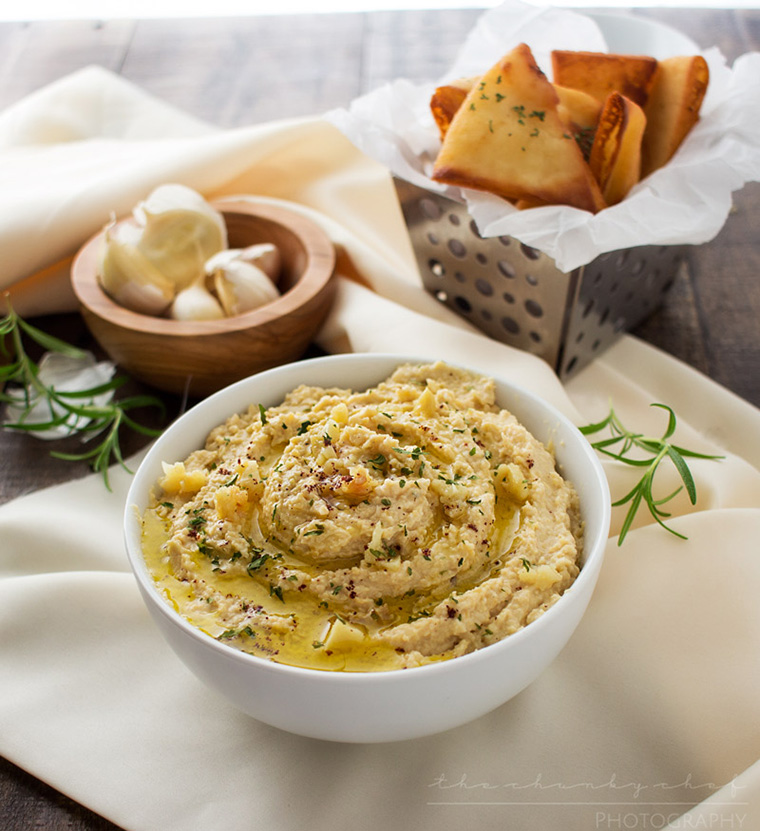 roasted garlic hummus by the chunky chef