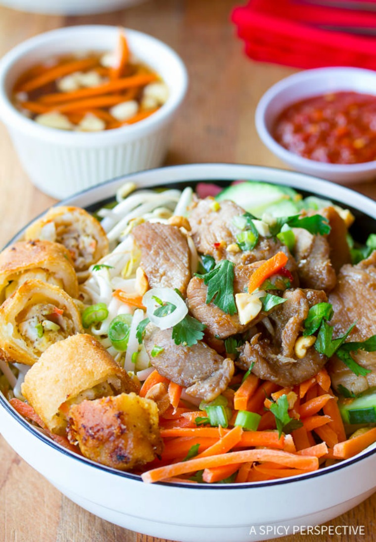 vietnamese bun cha gio vermicelli noodle salad spicy perspective