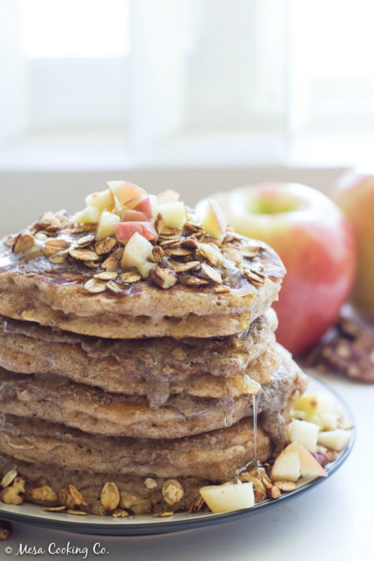 apple cinnamon pancakes pecan butter oat granola mesa cooking co