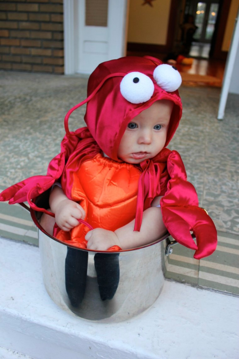 baby in lobster pot halloween costume she just glows