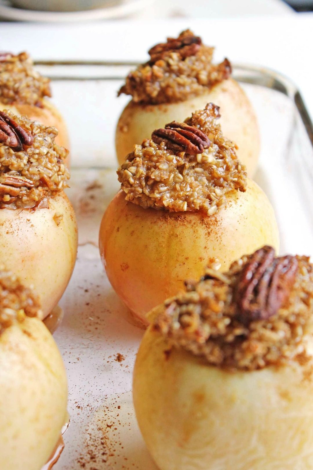 maple pecan steel cut oatmeal baked apples rhubarbarians