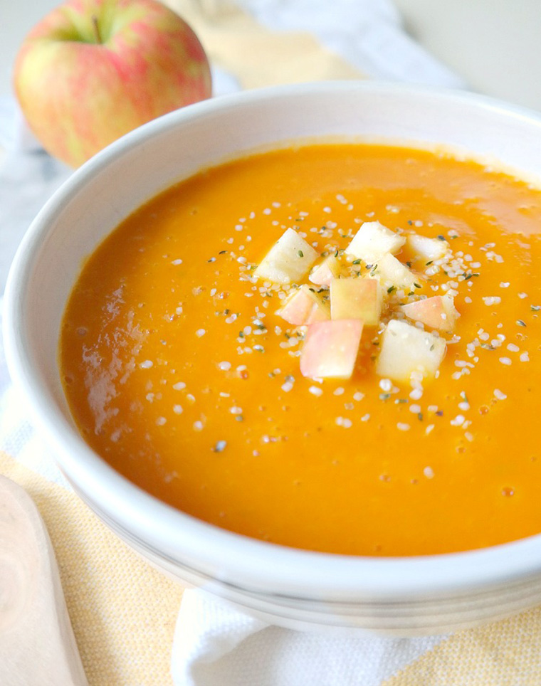 Cleansing Carrot and Autumn Squash Soup by the glowing fridge