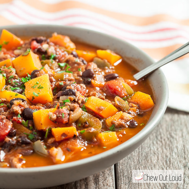 butternut squash chili by chew out loud