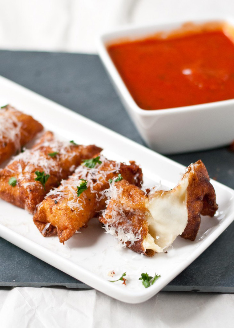 crispy wonton mozzarella sticks by neighbor food blog