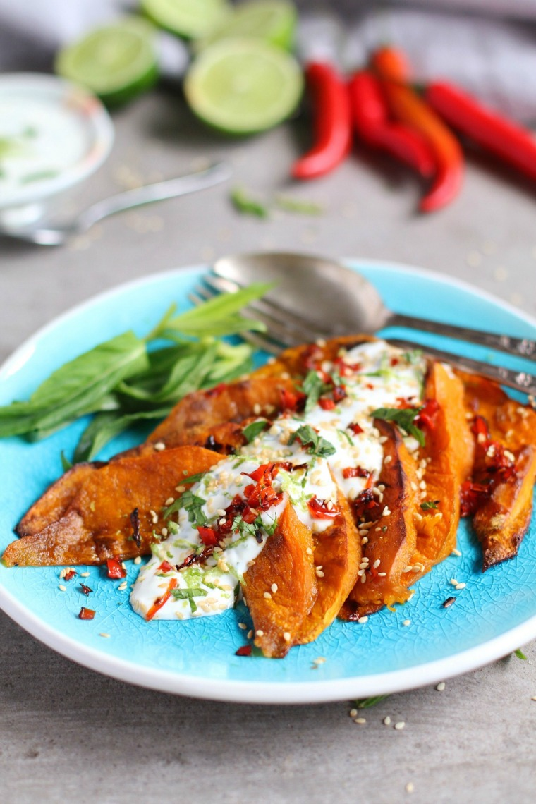 chili and lime roasted pumpkin with yoghurt dressing the purple ladle