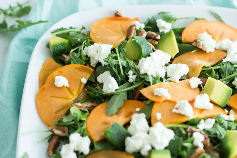 persimmon arugula salad with meyer lemon dressing half galley kitchen