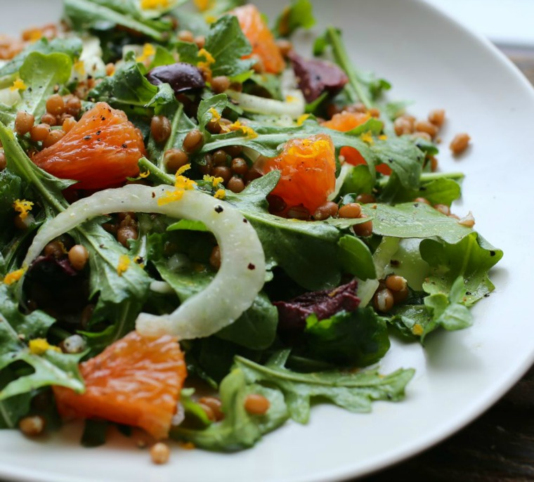 orange arugula fennel and wheat berry salad petit world citizen