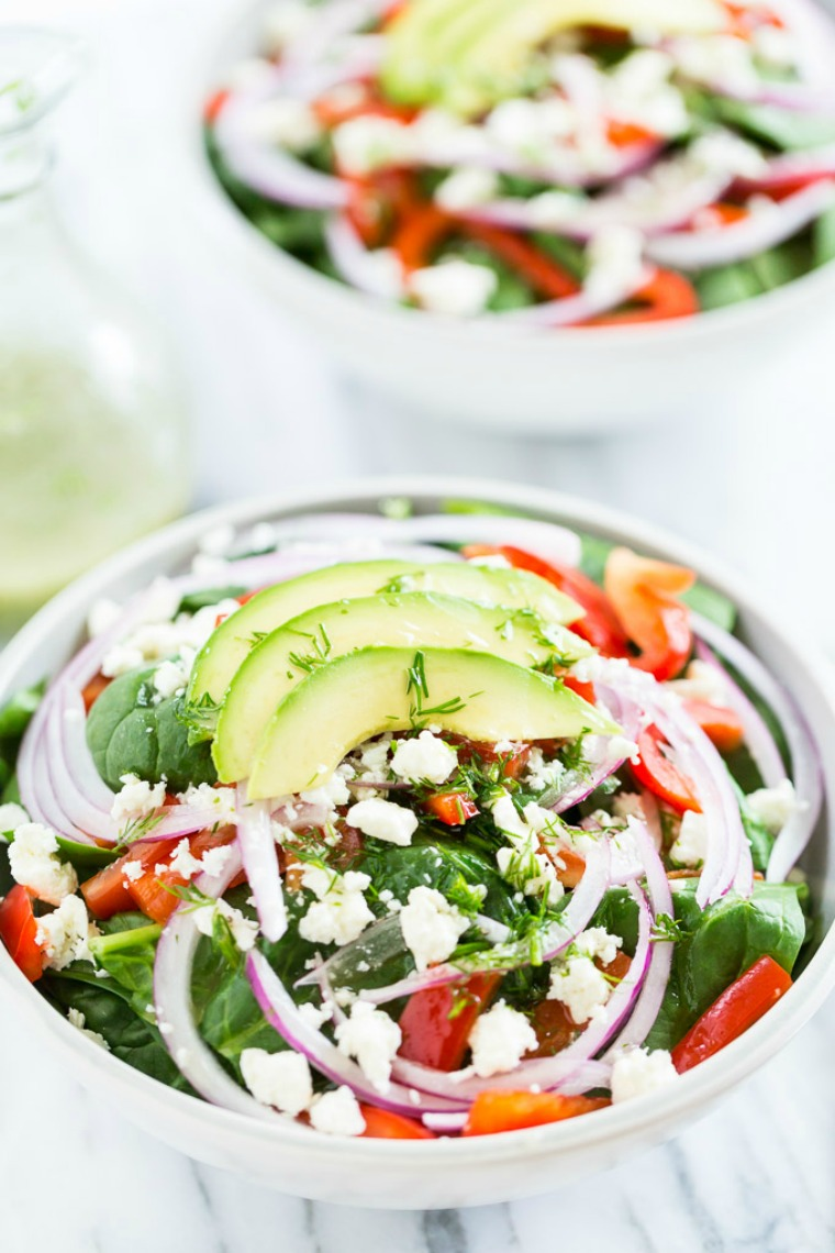 red pepper feta spinach salad with dill vinaigrette get inspired everyday