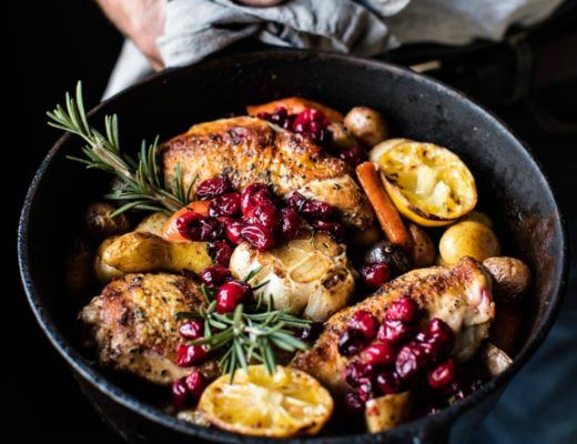 skillet cranberry roasted chicken and potatoes half baked harvest