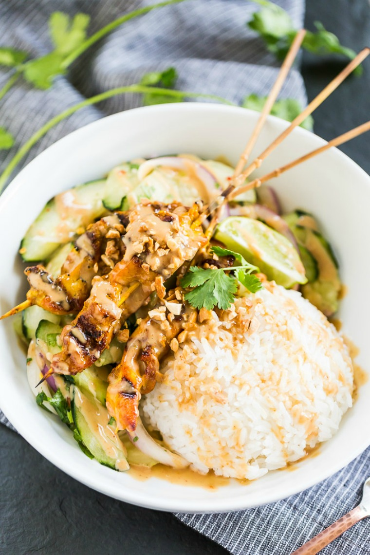 sate turmeric chicken with creamy peanut sauce get inspired everyday