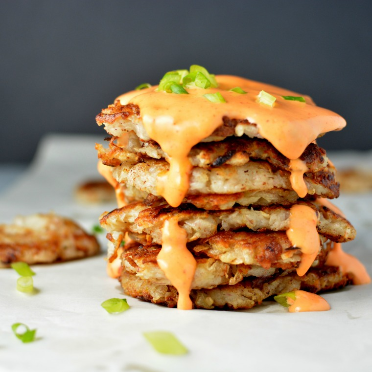 taro latkes with sriracha cream sauce builicious
