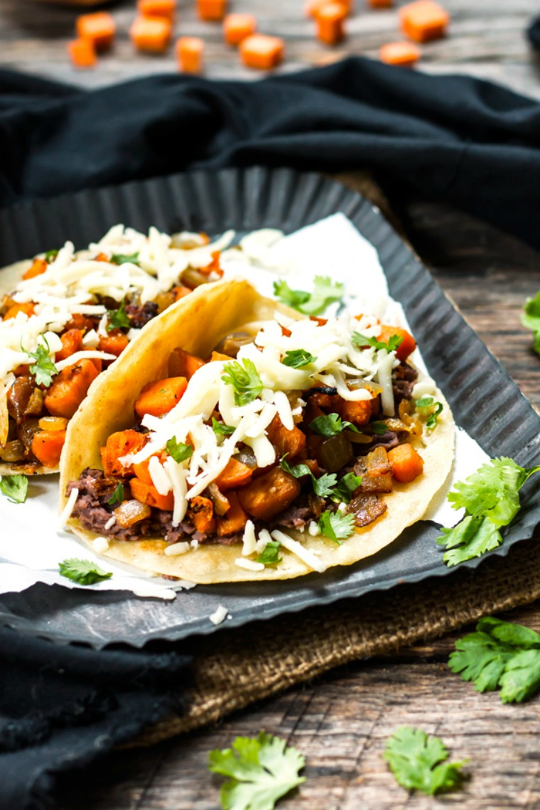 black bean sweet potato tacos gluten free with lb