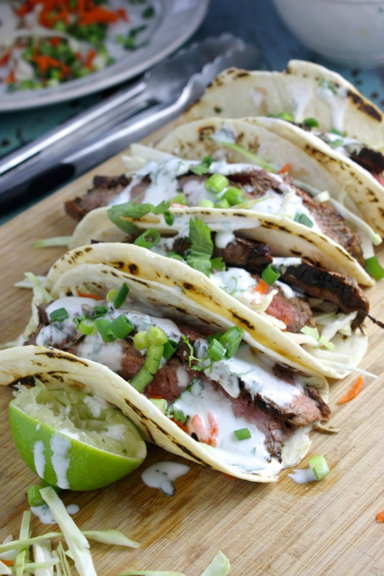 flank steak tacos with ginger lime garlic sauce the garlic diaries