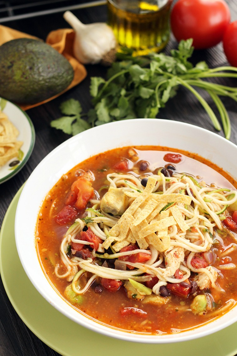 jalapeno lime chicken bean and avocado zucchini noodle soup inspiralized