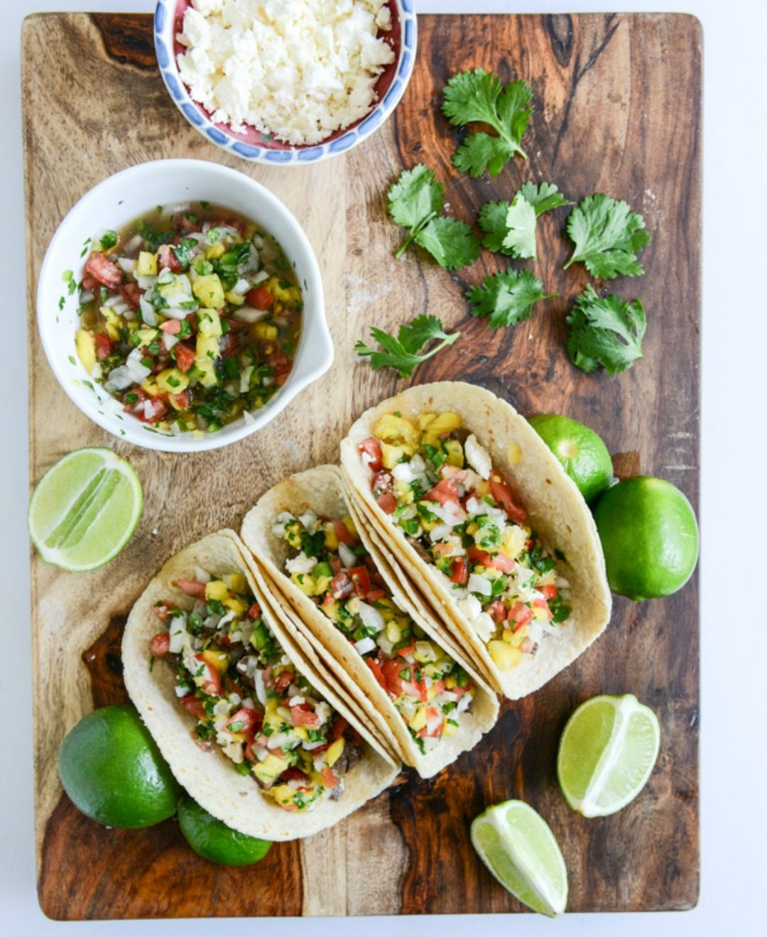 steak tacos with pineapple pico how sweet eats featured image