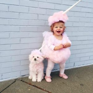 Baby and Dog Cotton Candy Costume Halloween Mandy Odle
