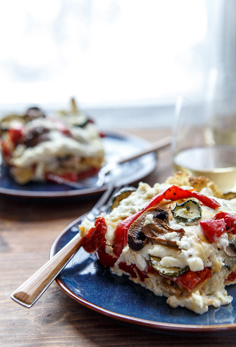 roasted vegetable lasagna in natural light by dessert for two