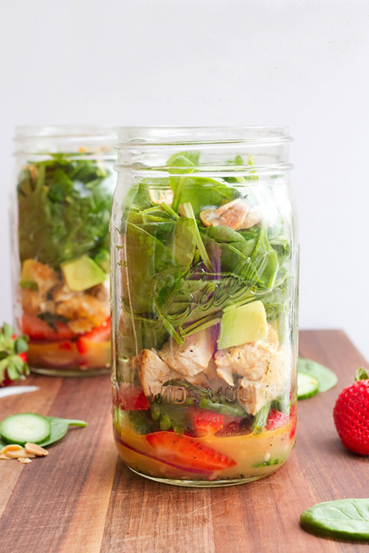 strawberry salad in a jar by brittany at eating bird food