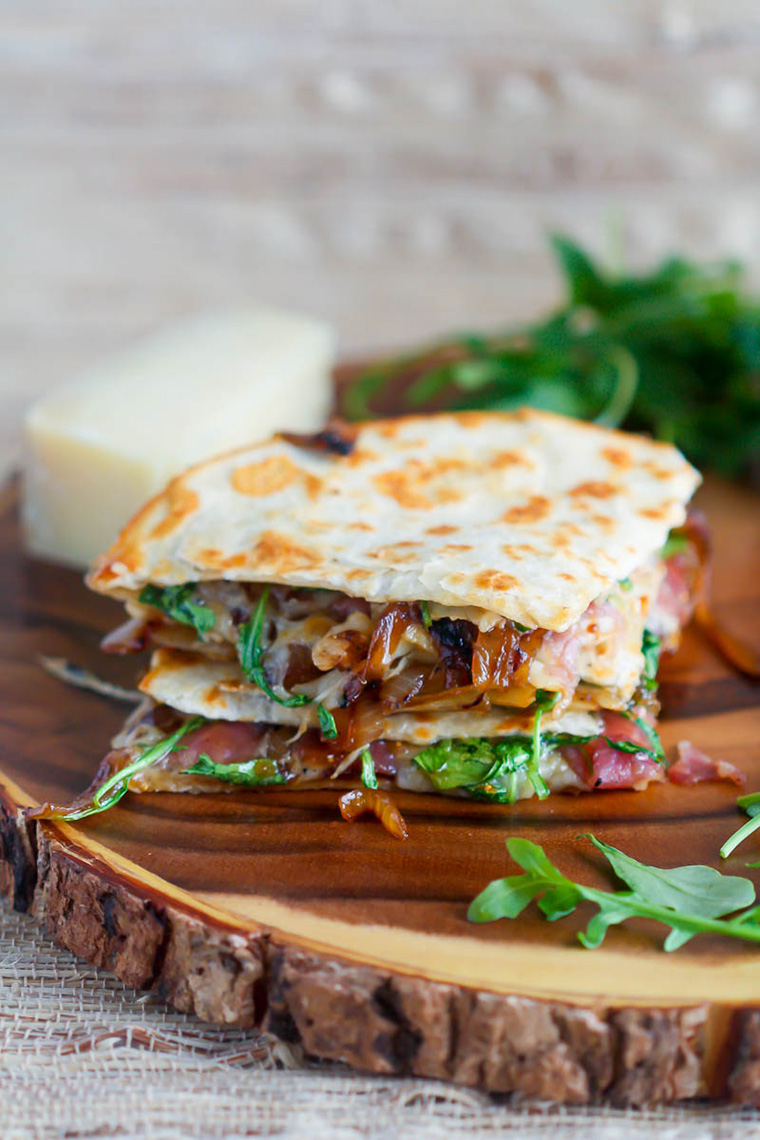 carmelized onion prosciutto and fig quesadilla by what should i make for dinner