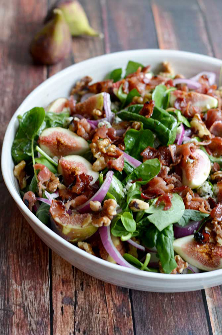 fig blue cheese walnut salad with bacon dressing by host the toast