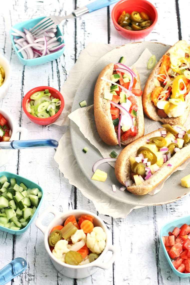 vegetarian hot dog toppings by ricotta and radishes