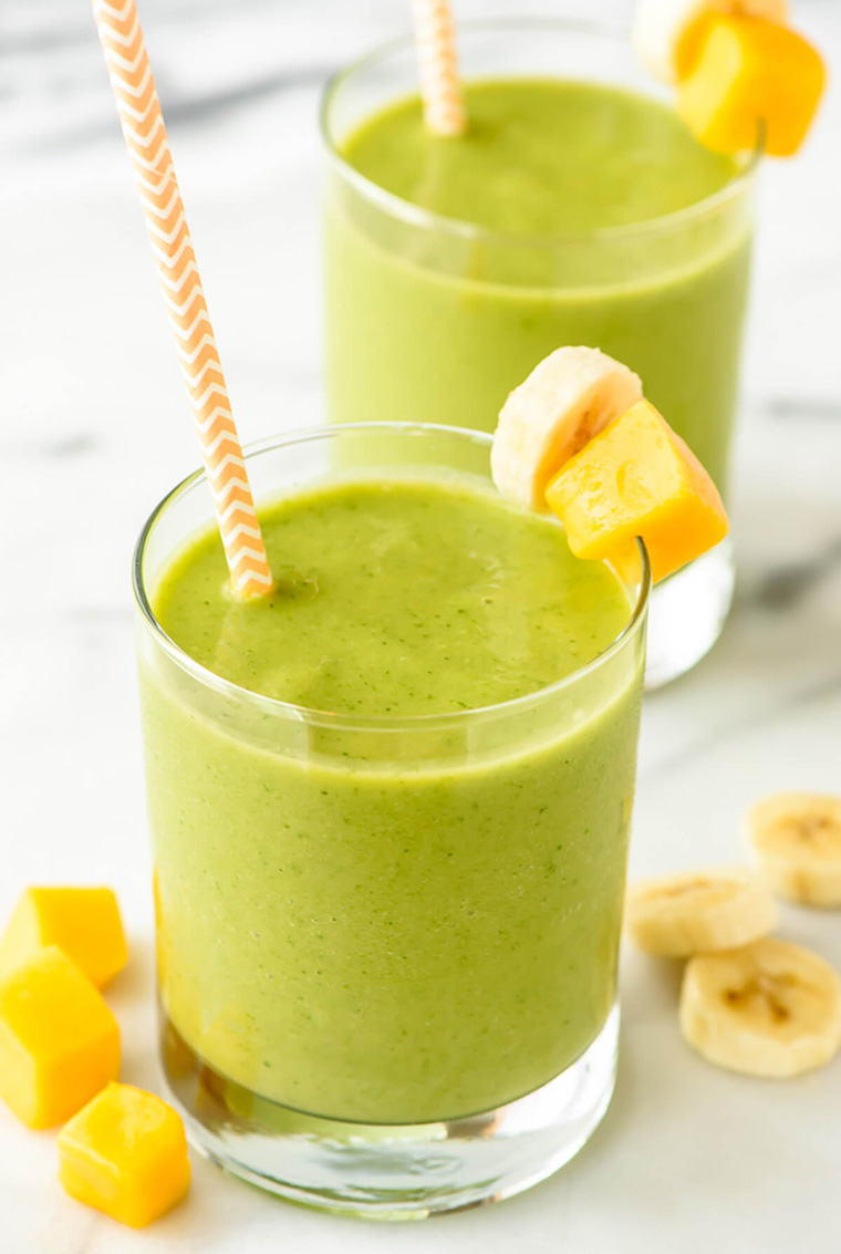 mango green smoothie by erin at well plated