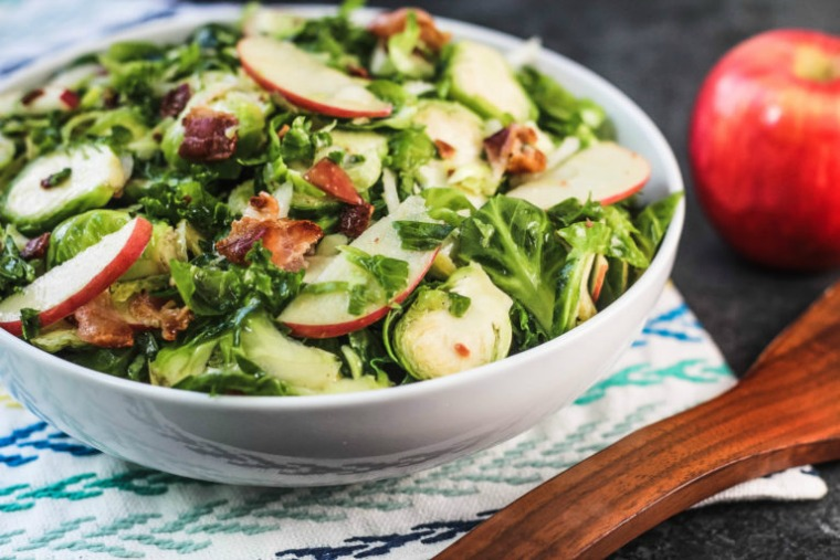 kale brussels sprouts salad with apples and bacon blackberry babe