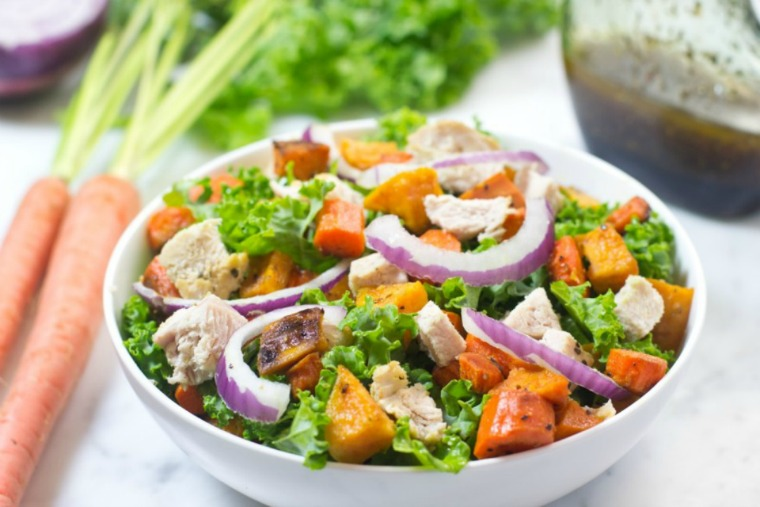 turkey kale salad with roasted sweet potatoes and carrots