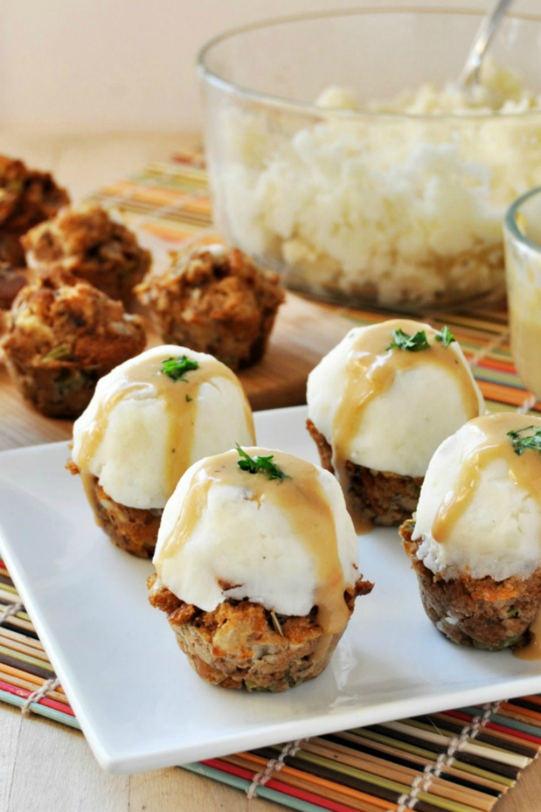 vegan gluten free thanksgiving stuffing muffins with mashed potatoes and gravy the colorful kitchen
