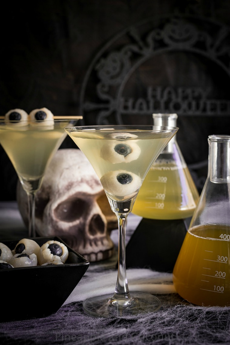 creepy eyeball martini pineapple and coconuts
