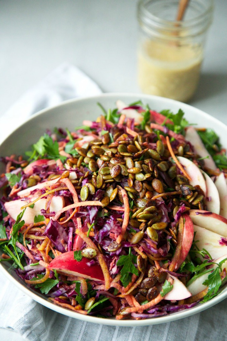 Fall Slaw Miso with ginger dressing the green life
