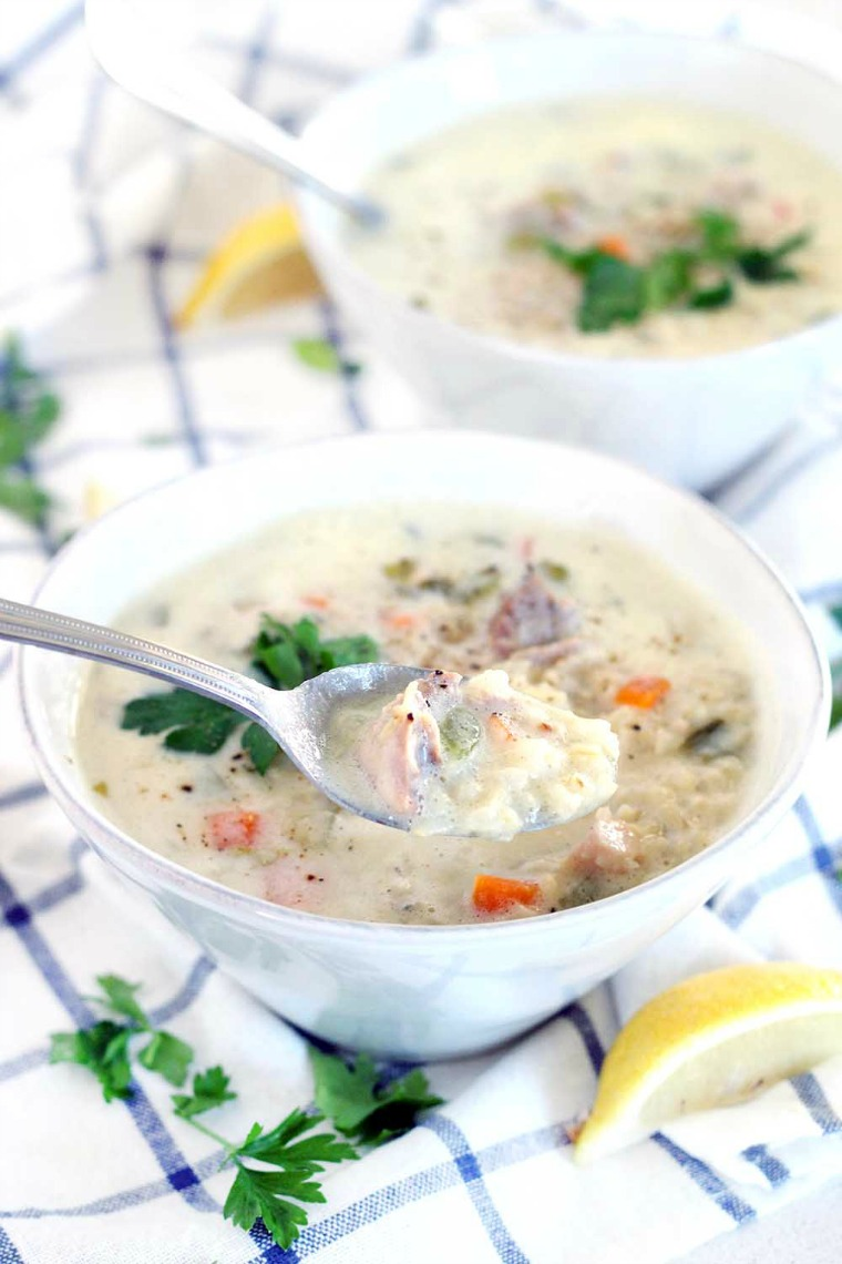 avgolemono greek lemon and egg chicken soup bowl