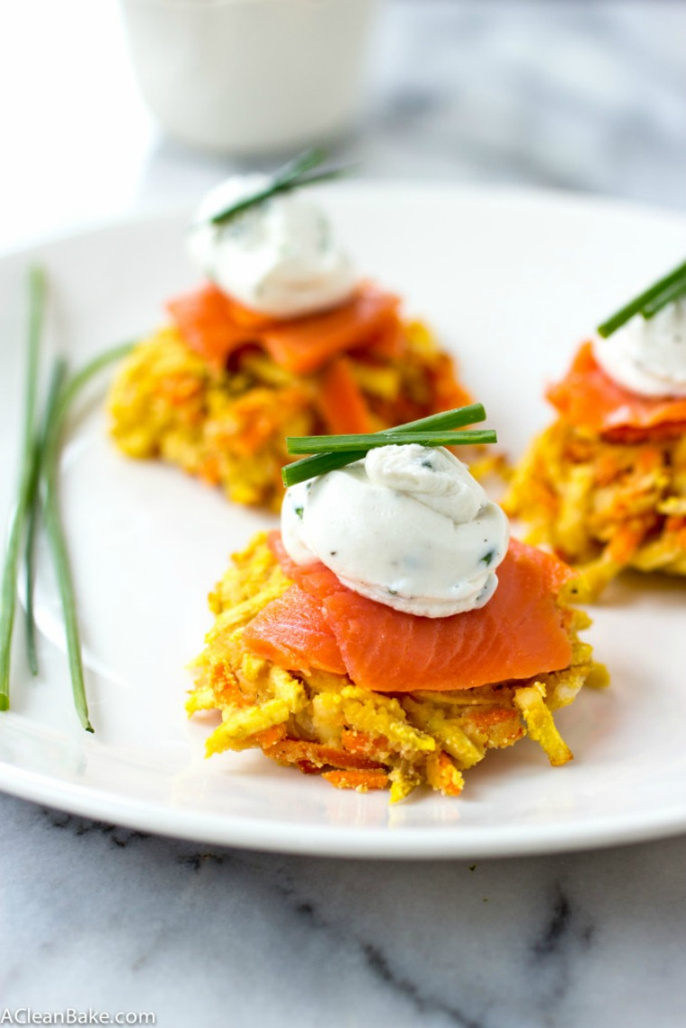 sweet potato and carrot latke-linis with whipped goat cheese and smoked salmon a clean bake
