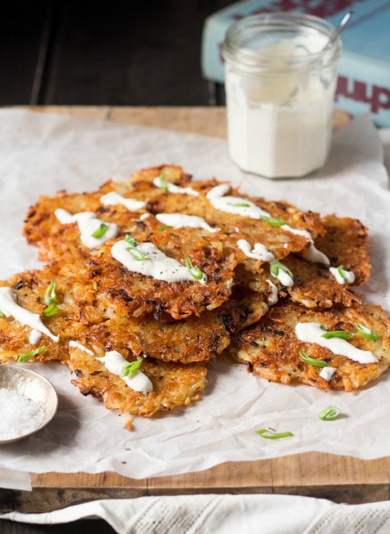 vegan latkes with sour cream