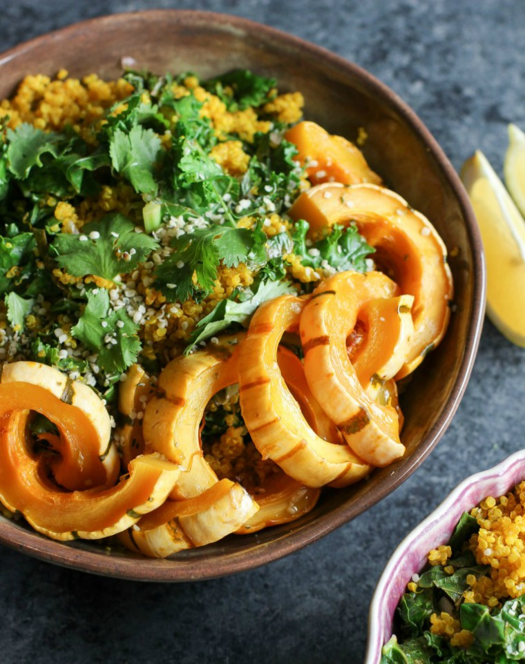 turmeric quinoa and delicata squash bowl apollo and luna