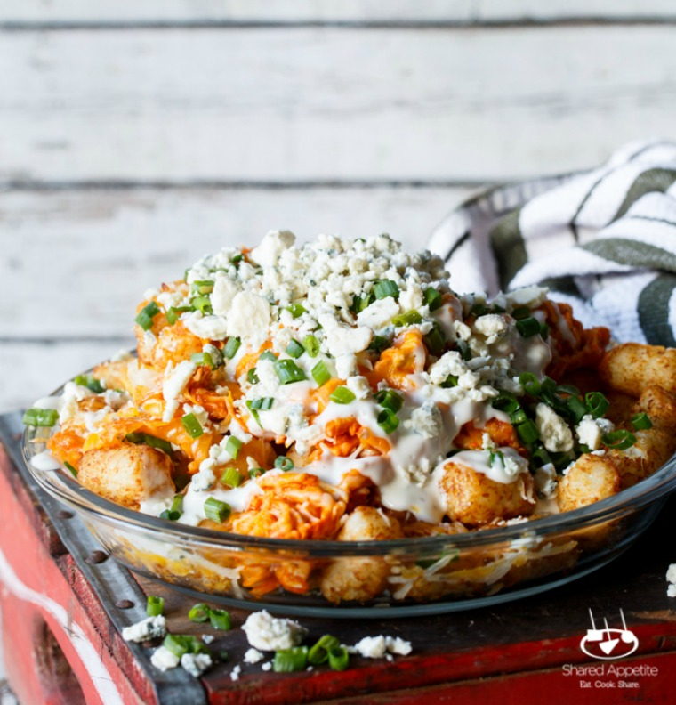 buffalo chicken tater tot nachos totchos shared appetite