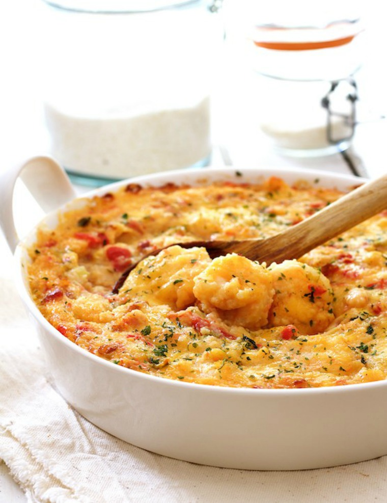 spicy shrimp and grits casserole with gouda cheese from a chef's kitchen