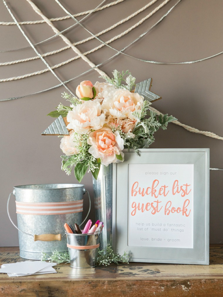 diy bucket list guest book something turquoise