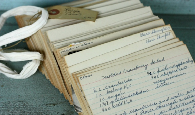 old family recipe cards writes 4 food